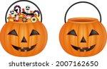 Isolated Pumpkin Buckets. Empty ...