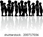 children silhouettes | Shutterstock .eps vector #200717036