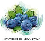 blue berries sketch | Shutterstock .eps vector #200719424
