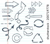 abstract sketchy arrows drawn... | Shutterstock .eps vector #200719778