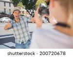 happy hip man posing for his... | Shutterstock . vector #200720678