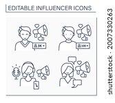 influencer line icons set.... | Shutterstock .eps vector #2007330263