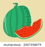 watermelon composition  a whole ...   Shutterstock .eps vector #2007358079