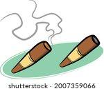 set of 2 hand rolled cigars lit ...   Shutterstock .eps vector #2007359066