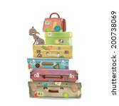 collection of travel suitcases... | Shutterstock .eps vector #200738069