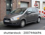 Small photo of Kempen,Germany-July 13,2021: Mitsubishi Colt 5-door parked in Kempen. Colts built in the Netherlands received a facelift in 2008 and the Japanese-built Colt has had the facelift in 2009.