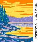 wpa poster art of ribbon lake...   Shutterstock .eps vector #2007545336