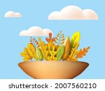 autumn leaves 3d yellow  red ... | Shutterstock .eps vector #2007560210