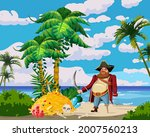 tropical island  pirate with... | Shutterstock .eps vector #2007560213