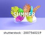 3d tropical leaves scene podium ... | Shutterstock .eps vector #2007560219