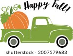 Old Green Truck With Pumpkin On ...
