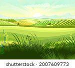 meadow hills with vegetable...   Shutterstock .eps vector #2007609773