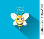 vector bee flat icon with long... | Shutterstock .eps vector #200761100