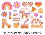 hippie retro vintage icons in... | Shutterstock .eps vector #2007619049