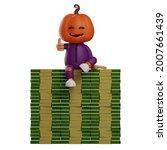 3d Halloween Scarecrow Cartoon...
