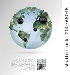 vector world globe  triangular... | Shutterstock .eps vector #200768048