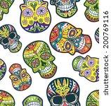 sugar skull pattern | Shutterstock . vector #200769116