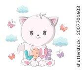 cat illustration isolated on... | Shutterstock .eps vector #2007701603