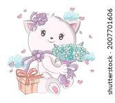 vector images of a cat in... | Shutterstock .eps vector #2007701606