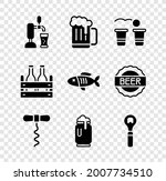 set beer tap with glass  wooden ... | Shutterstock .eps vector #2007734510