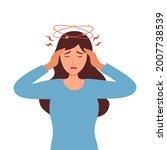 sick woman having dizzy symptom ... | Shutterstock .eps vector #2007738539