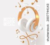 realistic 3d render headphones... | Shutterstock .eps vector #2007744143