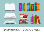 open book and pile of books... | Shutterstock .eps vector #2007777563