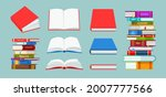 open closed book and stack of... | Shutterstock .eps vector #2007777566