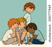 multiethnic group of kids...   Shutterstock .eps vector #200777969