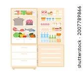 refrigerator fridge full of...   Shutterstock .eps vector #2007789866