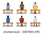 different people sit on bench... | Shutterstock .eps vector #2007841190