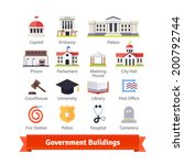 Government buildings colourful flat icon set. For use with maps and internet services interfaces. EPS 10 vector. - stock vector