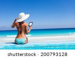 girl with white hat reads...   Shutterstock . vector #200793128