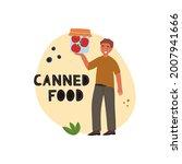 healthy man holds fresh tomatos ... | Shutterstock . vector #2007941666