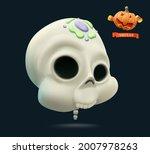 funny skull. halloween holiday...   Shutterstock .eps vector #2007978263