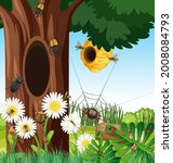 forest scene with bee hive and... | Shutterstock .eps vector #2008084793