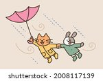 cute cat and dog holding hands... | Shutterstock .eps vector #2008117139