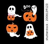 happy halloween with cute... | Shutterstock .eps vector #2008139123