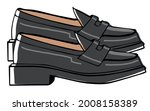 leather shoes on platform for...   Shutterstock .eps vector #2008158389