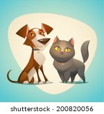 Stock vector cat and dog characters cartoon styled vector illustration 200820056