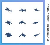 aquatic icon set and cetacean...