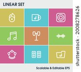 audio icon set and drums with...
