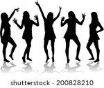 dancing girls   silhouettes. | Shutterstock .eps vector #200828210