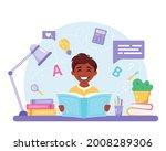 indian boy reading book. boy...   Shutterstock .eps vector #2008289306