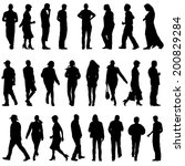 black silhouettes of beautiful... | Shutterstock .eps vector #200829284