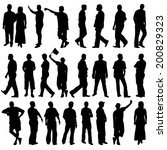 black silhouettes of beautiful... | Shutterstock .eps vector #200829323