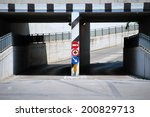 underpass road with funny signs | Shutterstock . vector #200829713