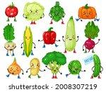 vegetable characters. cute...   Shutterstock .eps vector #2008307219