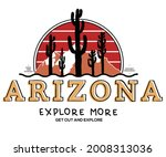 Arizona exploring vector t shirt design. Desert with cactus illustration for apparels and others.