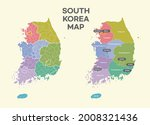 south korea all area map  | Shutterstock .eps vector #2008321436